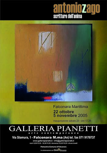 Galleria Pianetti - Falconara Marittima - Ancona - anno 2005 - scritture dell'anima - antonio zago